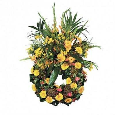 couronne fleurs obseques Soleil Levant