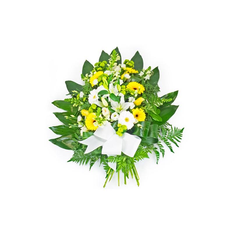 gerbe obsèques jaune et blanche